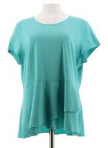 Isaac Mizrahi Short Slv Peplum Flounce Knit Top Turquoise L NEW A290866 - $21.76