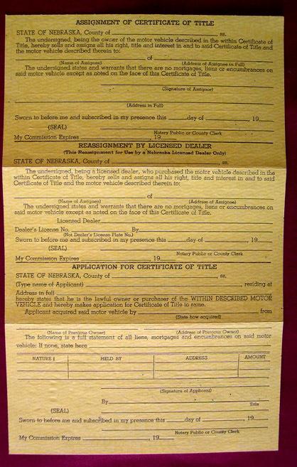 1929 Dodge Certificate of Title Motor Vehicle Dawes County Crawford Nebraska Car