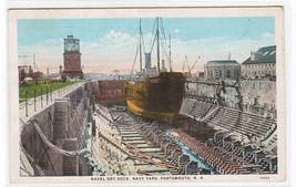 Naval Dry Dock Navy Ship Portsmouth New Hampshire 1920c postcard - $6.44