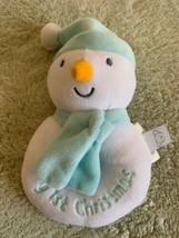 Koala Baby Boys White Blue Fleece Snowman Rattle My 1st Christmas Toy - $6.43