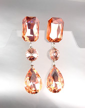 GLITZY Peach Czech Crystals LONG Bridal Pageant Prom Queen Earrings - £22.79 GBP