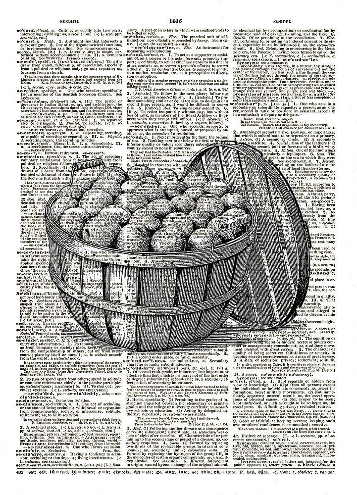 Bushel Basket of Peaches Vintage Dictionary Art Print No. 0198