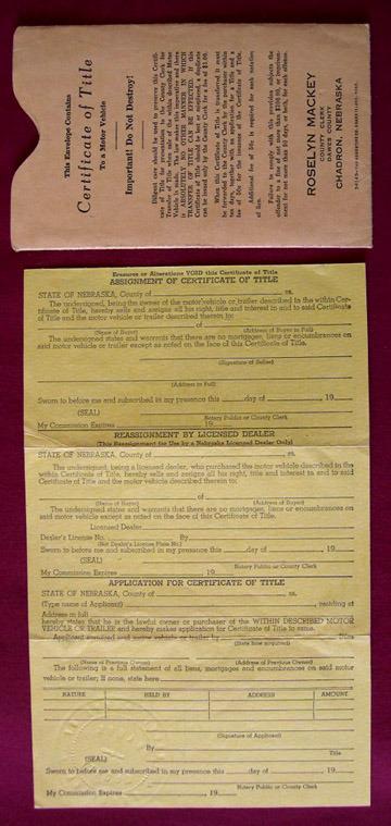1942 Buick Certificate of Title Motor Vehicle Dawes County Chadron Nebraska Car