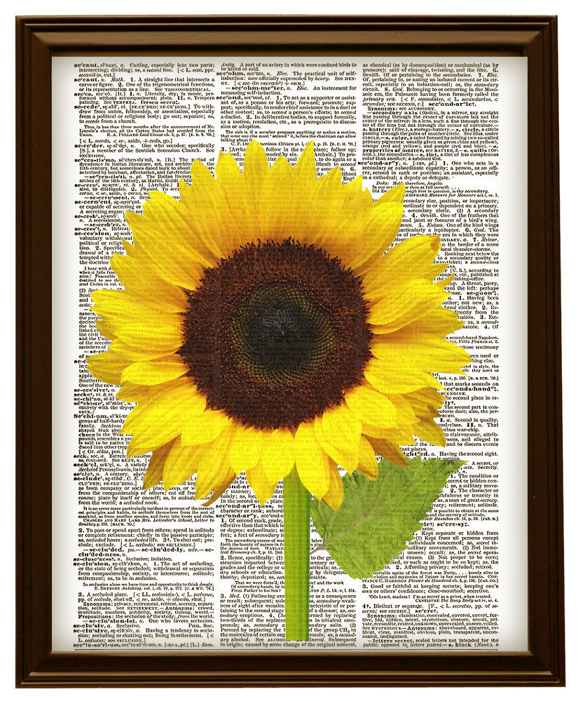 Large Yellow Sunflower Flower Vintage Dictionary Page Art Print No. 0218