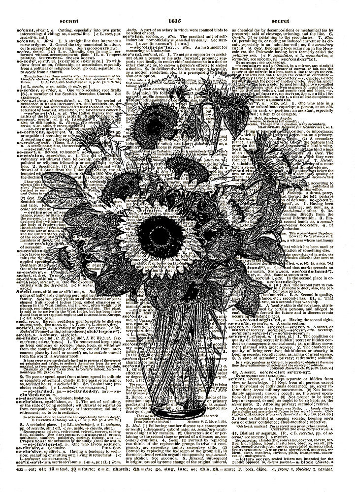 Sunflowers in a Vase Floral Flowers Vintage Dictionary Art Print No. 0196