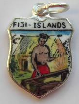 FIJI Islands Man 1 Vintage Enamel Travel Shield Charm - $29.95