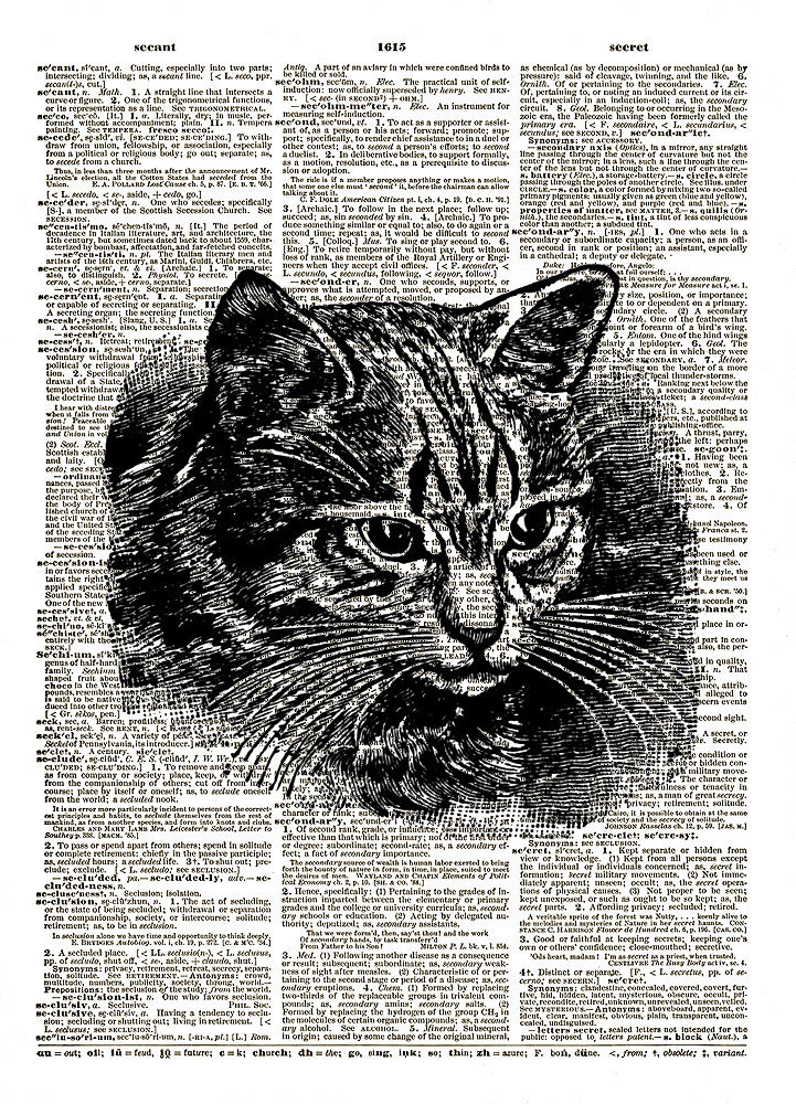 Sweet Kitty Cat Head Black and White Vintage Dictionary Page Art Print No. 0190