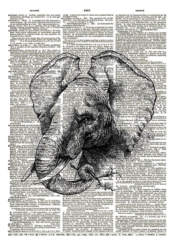 Big Ears Elephant African Animal Vintage Dictionary Art Print No. 0179