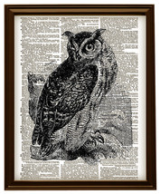 Horned Owl Art Bird on a Branch Vintage Diction... - $12.00