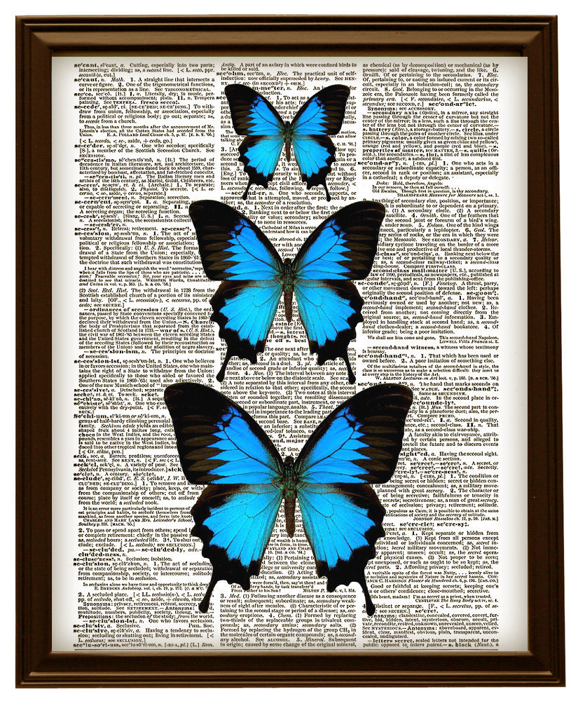 Blue Butterflies Vintage Dictionary Page Art Print No. 0156