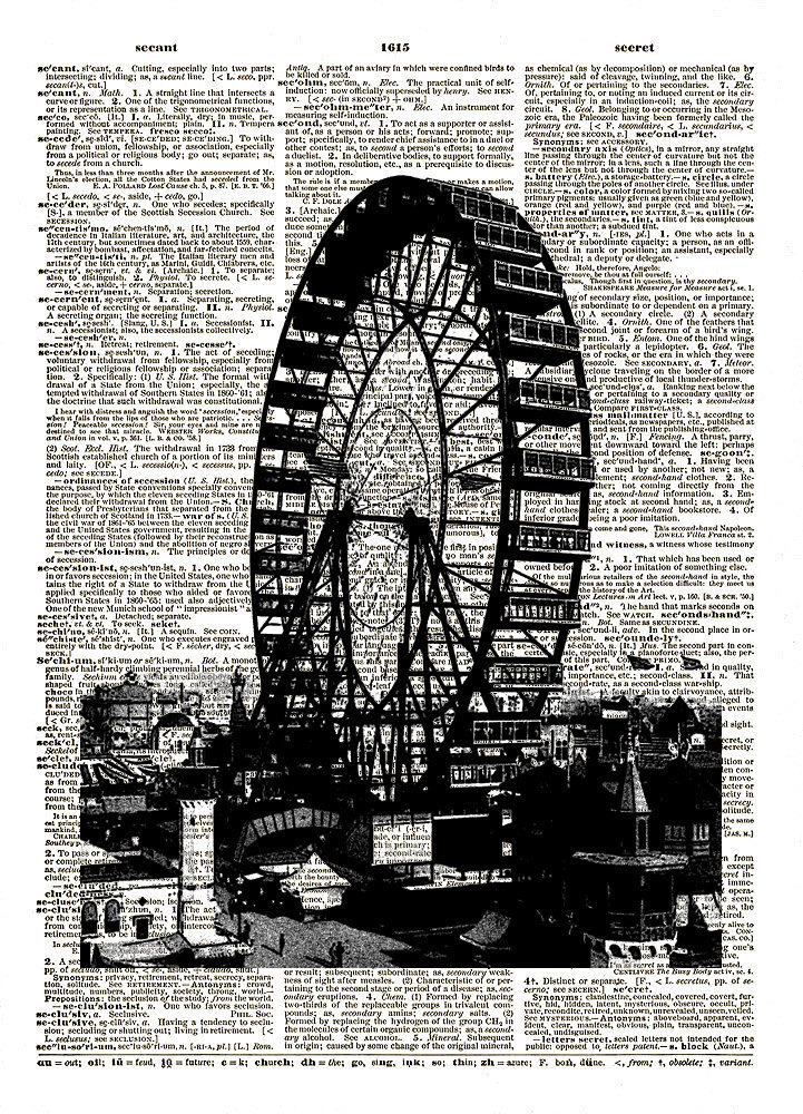 FERRIS WHEEL Amusement Park Ride Vintage Dictionary Art Print No. 0101