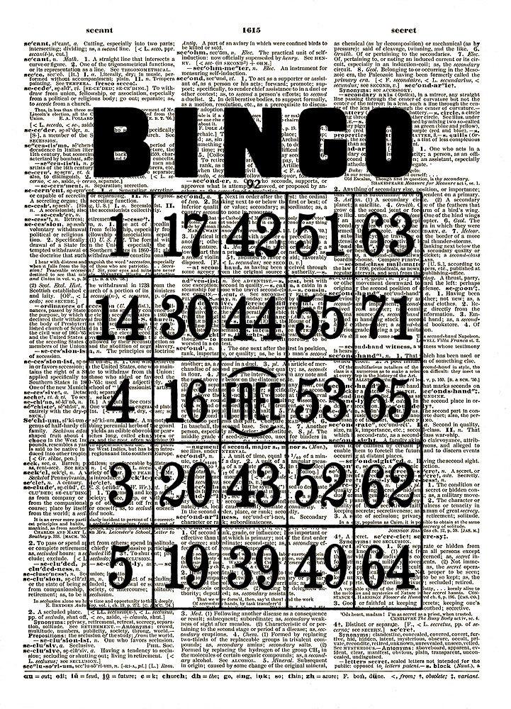 Vintage BINGO GAME CARD Dictionary Page Art Print No. 0141