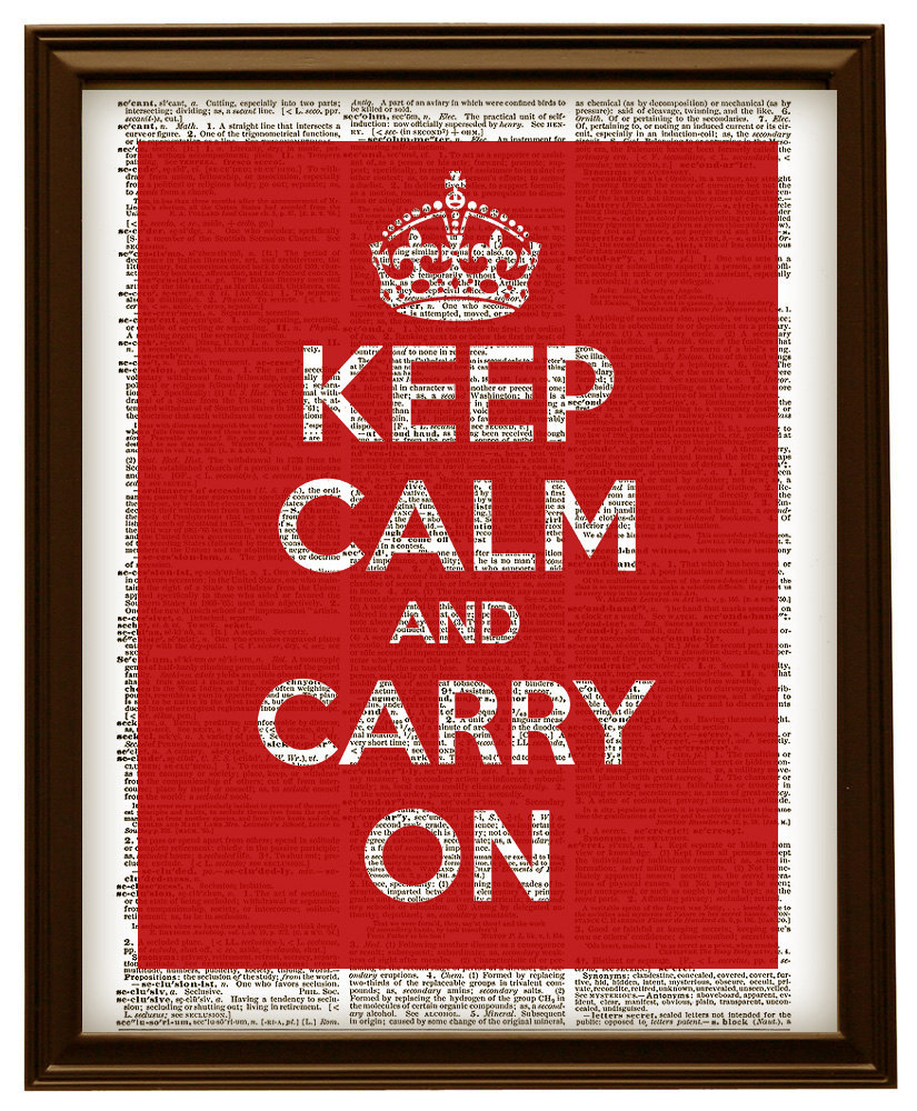 Keep Calm and Carry On WWII Poster Red Vintage Dictionary Art Print No. 0154