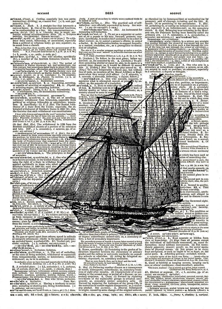 SAILING SHIP Schooner Antique Vintage Dictionary Art Print No. 0132