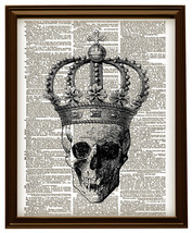 SKULL with CROWN Vintage Dictionary Page Art No.  - $12.00