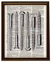Vintage HARDWARE SCREWS Vintage Dictionary Page... - $12.00