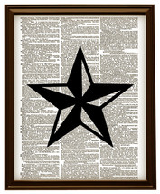 FIVE POINT STAR Vintage Dictionary Page Art Pri... - $12.00