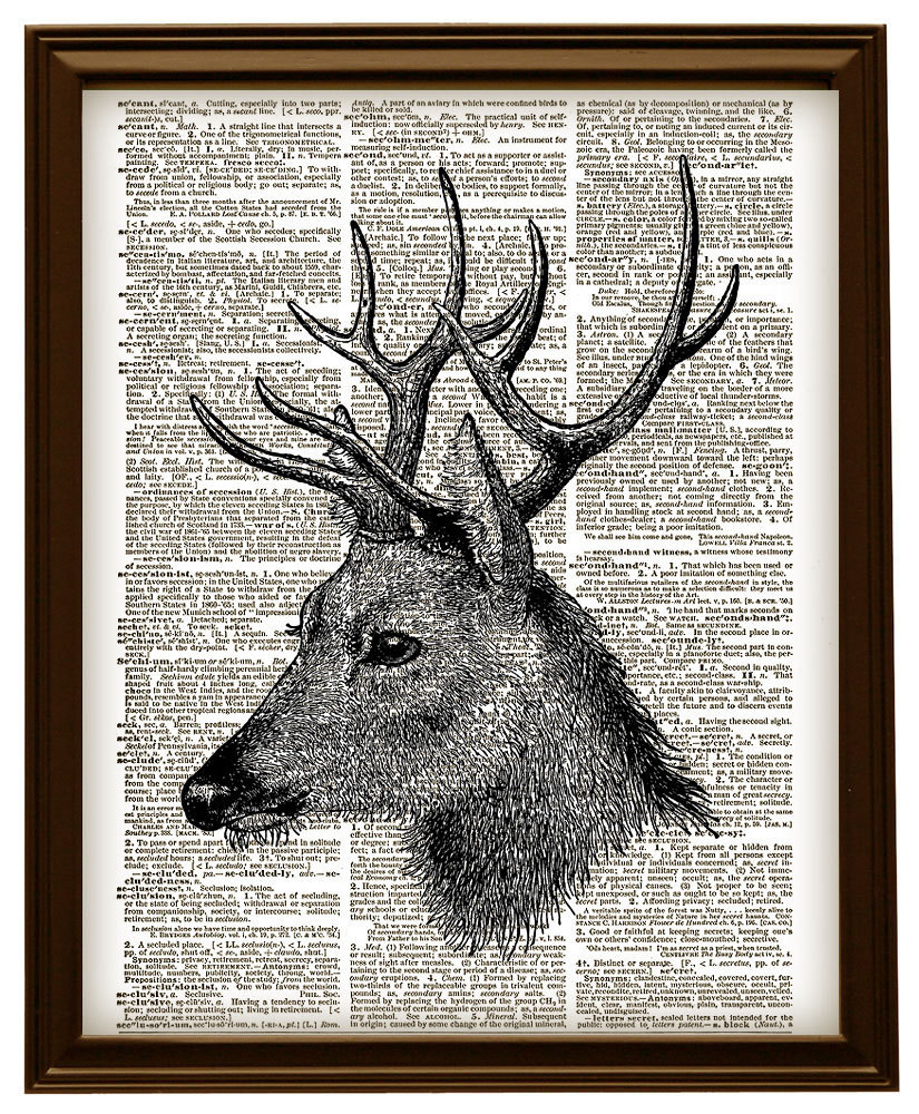DEER BUCK HEAD Forest Animal Vintage Dictionary Art Print No. 0116