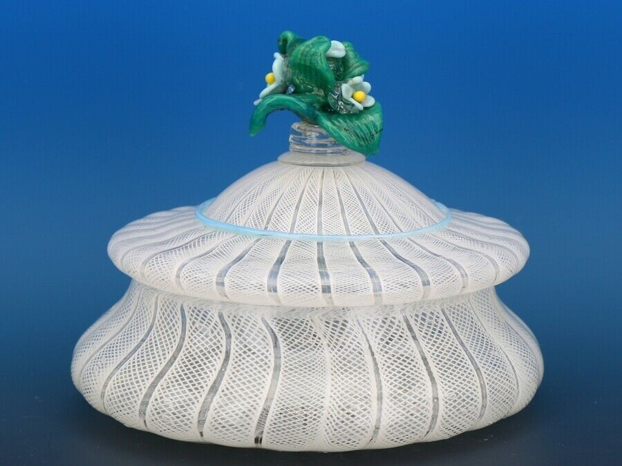Vintage Murano Glass White Zanfirico Covered Candy Box or Dresser Jar c.1950