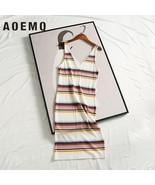 AOEMQ Summer Dresses Sleeveless V Neck Collar Midi Dress Tight Straight ... - $17.60