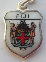 FIJI Island Coat of Arms VTG Enamel Travel Shield Charm - $29.95
