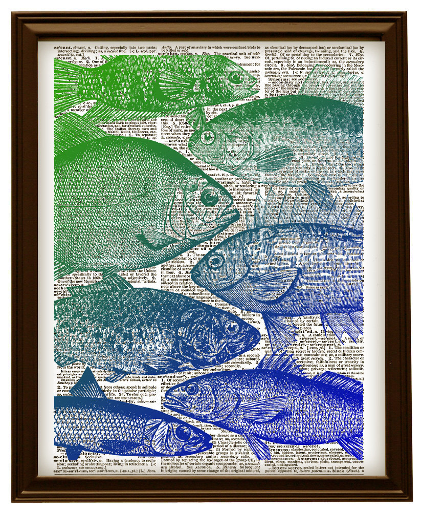 FISH HEADS Antique Artwork Blue and Green Vintage Dictionary Art Print No. 0149