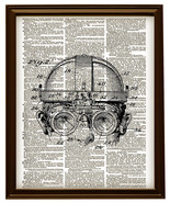 STEAMPUNK GOGGLES Diagram Vintage Dictionary Page Art Print No. 0099 - $12.00