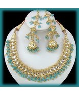 22kt Gold Exotic E. India Wedding Necklace & Chandelier Earring Set Aqua... - $159.99