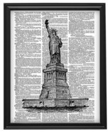 STATUE OF LIBERTY New York Harbor Vintage Dictionary Page Art Print No. ... - $12.00