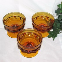 INDIANA GLASS KINGS CROWN GOLD AMBER SHERBET CHAMPAGNE GOBLETS 3 THUMBPR... - $9.95