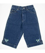 KIDS FOR KIDS GIRLS 5 DENIM JEANS CROPPED PANTS BUTTERFLY COLORFUL BUTTE... - $6.48