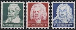 1935 German Composers Schutz Bach Handel Set of 3 Stamps Catalog 456-58 MNH