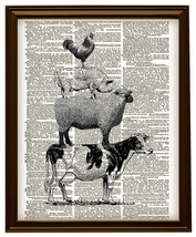 FARM ANIMALS Cow, Sheep, Pig, Rooster Vintage D... - $12.00