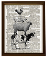 FARM ANIMALS Cow, Sheep, Pig, Rooster Vintage Dictionary Art Print No. 0077 - $12.00