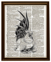 ROOSTER Bird Farm Animal Vintage Dictionary Art... - $12.00
