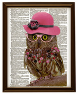 Pretty OWL BIRD in Pink Hat with Glasses Color Dictionary Art Print No. 0102 - $12.00