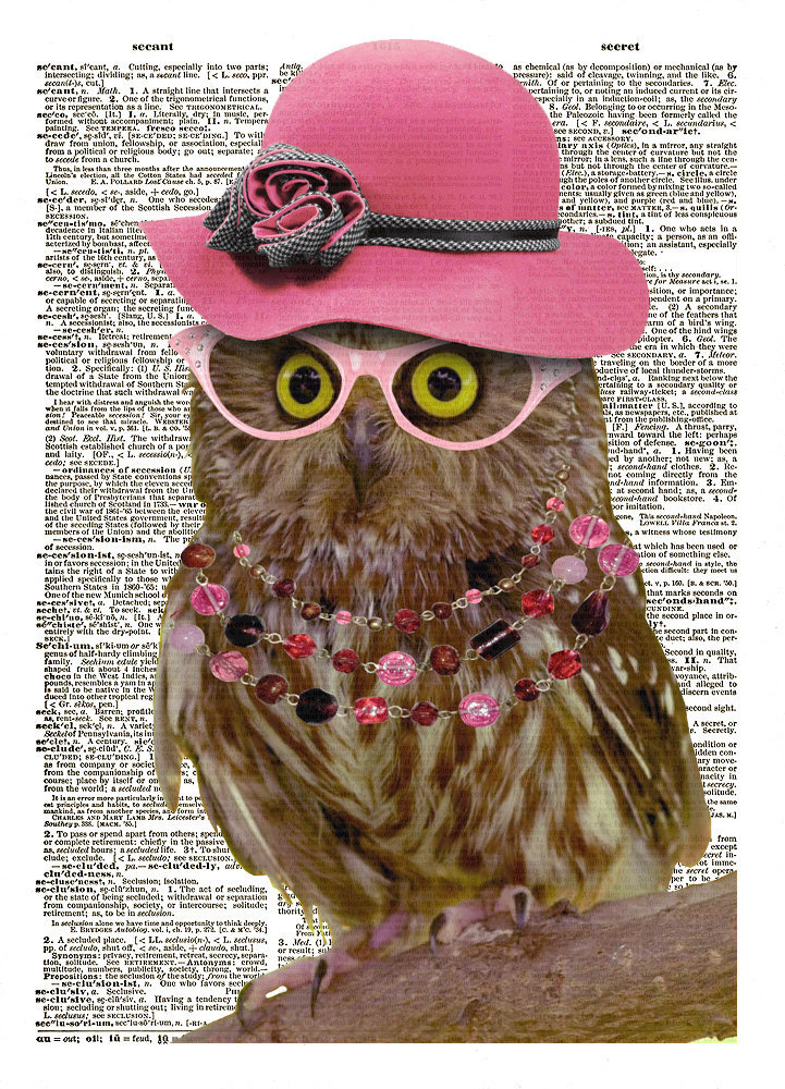 Pretty OWL BIRD in Pink Hat with Glasses Color Dictionary Art Print No. 0102