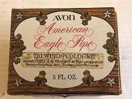 AVON AMERICAN EAGLE PIPE 5 OZ TAI WINDS COLOGNE DECANTER W/BOX EMPTY  #2936 - $12.59