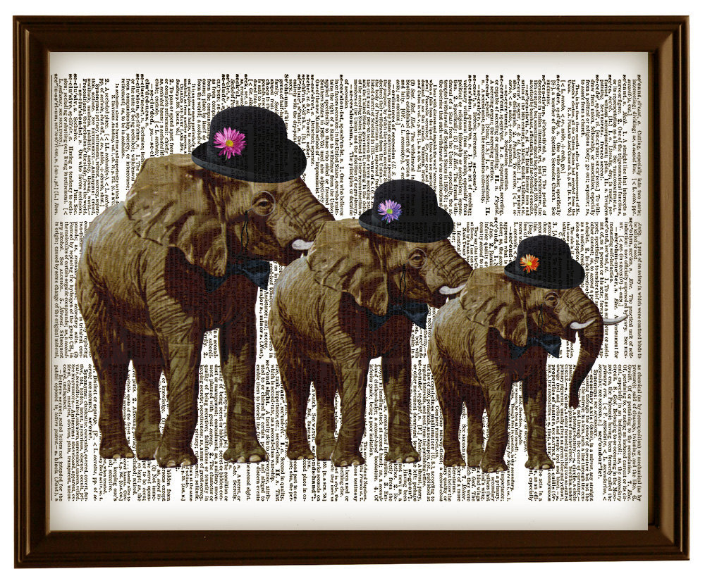 Gentlemen ELEPHANTS in HATS Vintage Dictionary Page Art Print No. 0057