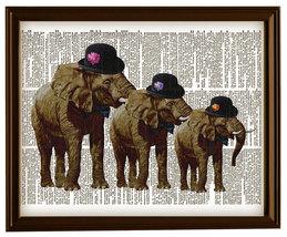 Gentlemen ELEPHANTS in HATS Vintage Dictionary ... - $12.00