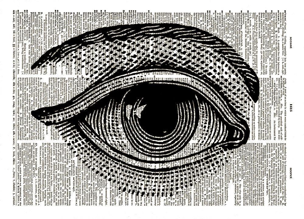 Large HUMAN EYE with Eyebrow Vintage Dictionary Page Art Print No. 00