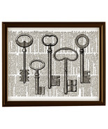 Five Antique KEYS Black and White Vintage Dictionary Page Art Print No. ... - $12.00