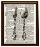 SILVERWARE FORK and SPOON Flatware Vintage Dictionary Page Art Print No.... - $12.00