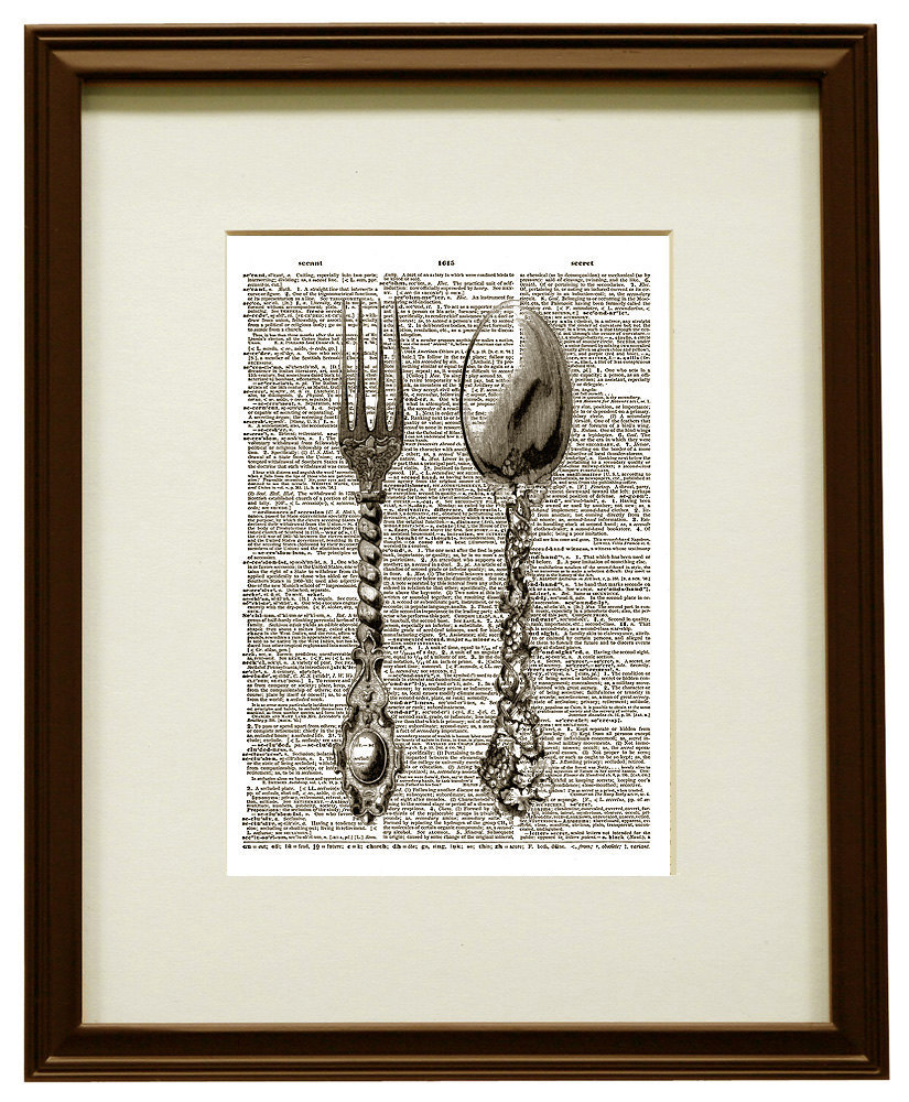 SILVERWARE FORK and SPOON Flatware Vintage Dictionary Page Art Print No. 0045