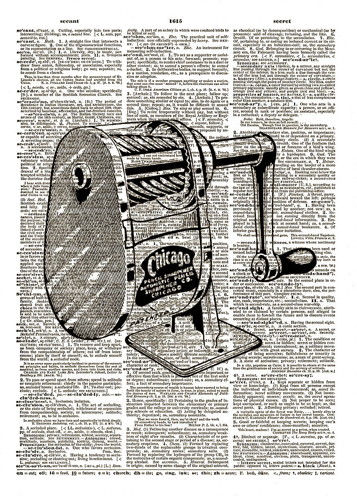 PENCIL SHARPENER Office School Equipment Vintage Dictionary Art Print No. 0044