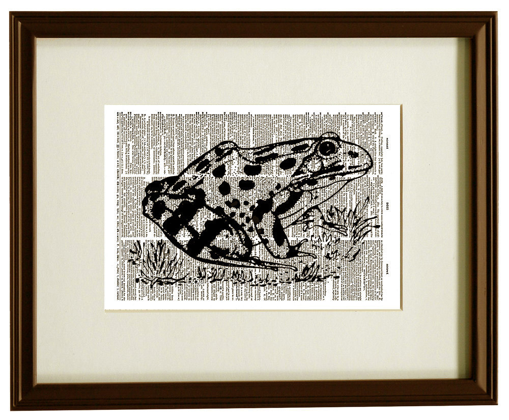 FROG Amphibian Water Animal Vintage Dictionary Page Art Print No. 0042