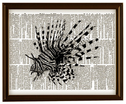 LION FISH Ocean Animal Vintage Dictionary Art P... - $12.00