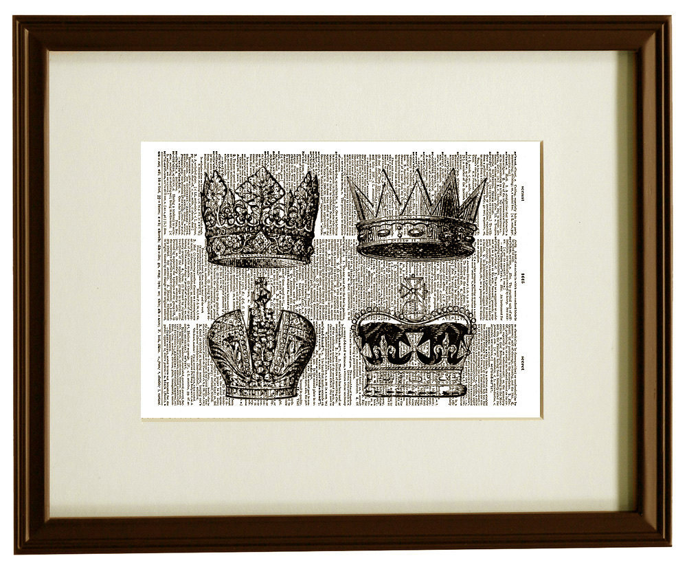 Royal CROWNS King and Queen Vintage Dictionary Art Print No. 0033