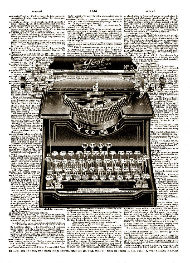 Antique Yost TYPEWRITER Black and White Vintage Dictionary Art Print No. 0032