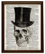 HUMAN SKULL w/ Top Hat Black for Halloween Vintage Dictionary Art Print ... - $12.00